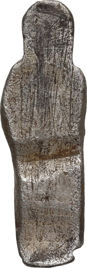 reverse: Silver votive figure.  Roman period, 1st-3rd century AD.  26 x 9 mm
