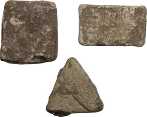 reverse: Lot of 3 weights with inscriptions.  Roman period.  38 x 33 mm, 40 x 25 mm,  35 x 35 x 35 mm