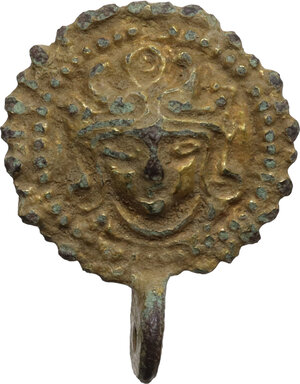 obverse: Gilt bronze applique with face.  Roman period, 2nd - 4th century AD.  Diameter: 22 mm