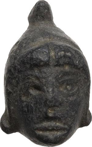 obverse: Bronze head of Attis.  Roman period, 2nd- 4th century AD.  H: 19 mm