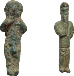 obverse: Lot of 2 votive figures of Arpokrates  Roman period, 1st- 3rd century AD.  H: 25 mm, 27 mm