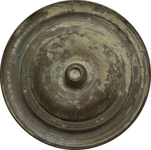 reverse: Large bronze applique with geometric decorations.  Roman period, 1st-3rd century AD.  Diameter 65 mm