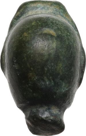 reverse: Bronze head.  Roman period, 1st-3rd century AD.  17 x 11 mm