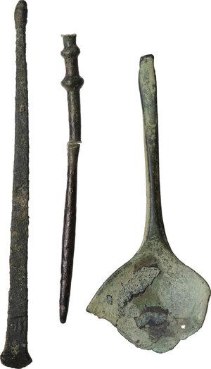 obverse: Lot of 3 bronze tools.  Roman period, 1st - 3rd century AD