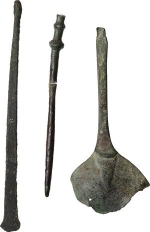 reverse: Lot of 3 bronze tools.  Roman period, 1st - 3rd century AD