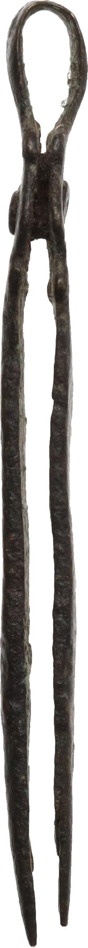 reverse: Bronze tweezers.  Roman period, 1st - 3rd century AD.  56 mm