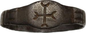 obverse: AR Ring, bezel engraved with cross.  Byzantine, 6th-9th century.  Inner diameter 20 mm