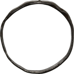 reverse: AR Ring, bezel engraved with cross.  Byzantine, 6th-9th century.  Inner diameter 20 mm
