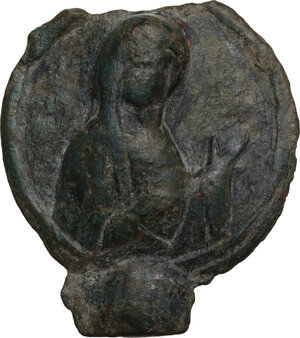 obverse: Bronze decorative element with Virgin Mary.  Byzantine period.  35 x 32 mm