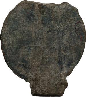 reverse: Bronze decorative element with Virgin Mary.  Byzantine period.  35 x 32 mm