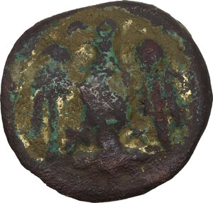 obverse: AE (gilded) Button with eagle standing front, head left, wings open.   Diameter: 20 mm.  Medieval period, c. 8th-12th century