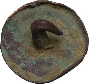 reverse: AE (gilded) Button with eagle standing front, head left, wings open.   Diameter: 20 mm.  Medieval period, c. 8th-12th century