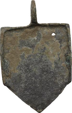 reverse: Bronze horse harness pendant.  Medieval.  37 x 23 mm