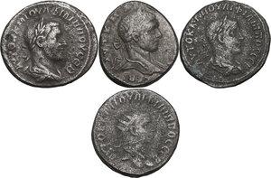 obverse: The Roman Empire.. Lot of 4 AR Tetradrachms, Antioch  mint (Seleucis and Piear, Syria), including: Caracalla, Philip I and Philip II