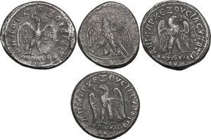 reverse: The Roman Empire.. Lot of 4 AR Tetradrachms, Antioch  mint (Seleucis and Piear, Syria), including: Caracalla, Philip I and Philip II