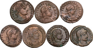 obverse: The Roman Empire.. Lot of 7 AE denominations, including: Valentinian, Constantine I and Constantine II