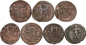 reverse: The Roman Empire.. Lot of 7 AE denominations, including: Valentinian, Constantine I and Constantine II