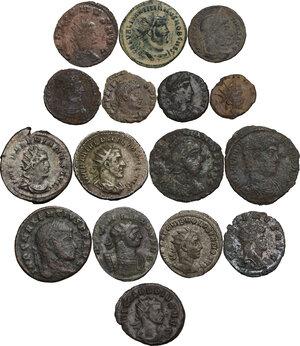obverse: The Roman Empire. Lot of 16 unclassified AR (3) and AE (13) denominations, including: Gallienus, Claudius II, Volusian, Philip I, Maximian, Maxentius, Valerian, Valens and Aurelian