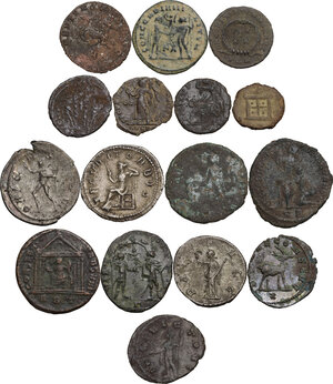 reverse: The Roman Empire. Lot of 16 unclassified AR (3) and AE (13) denominations, including: Gallienus, Claudius II, Volusian, Philip I, Maximian, Maxentius, Valerian, Valens and Aurelian
