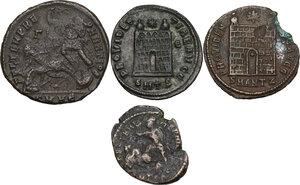 reverse: The Roman Empire.. Lot of 4 AE denominations, including: Constantine I, Constantine II and Constantius II