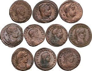 obverse: The Roman Empire.. Lot of 10 AE denominations, including: Constantine I, Constantine II and Constantius II