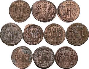 reverse: The Roman Empire.. Lot of 10 AE denominations, including: Constantine I, Constantine II and Constantius II