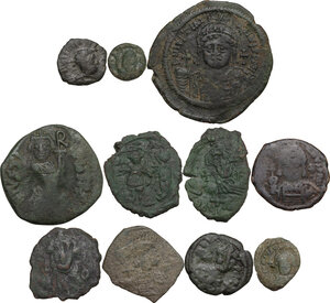 obverse: The Byzantine Empire.. Multiple lot of eleven (11) unclassified AE coins