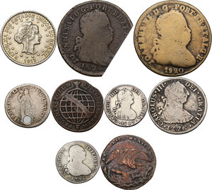 obverse: Multiple lot of nine (9) AR/AE coins. Brazil, Mexico, Bolivia and Perù