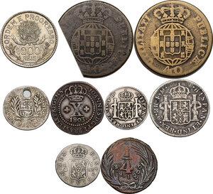reverse: Multiple lot of nine (9) AR/AE coins. Brazil, Mexico, Bolivia and Perù