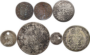 obverse: Multiple lot seven (7) AR/AE coins. Europe, 18th century