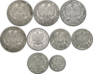 reverse: Multiple lot of nine (9) unclassified coins
