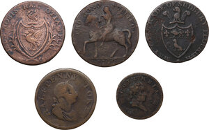 obverse: Multiple lot of five (5) items: four (4) AE Halfpennies and one (1) AE Farthing Token