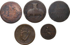 reverse: Multiple lot of five (5) items: four (4) AE Halfpennies and one (1) AE Farthing Token