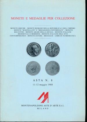 obverse: Montenapoleone - Asta n.8 Milano, 11-12 maggio 1988.  Collezioni varie fra cui la SACHERO. Monete greche, monete romane repubblicane e dell impero, monete