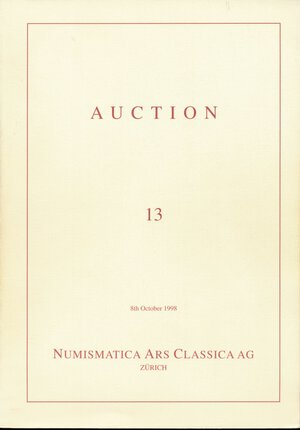 obverse: NAC Numismatica Ars Classica AG Zurich: Auction 13 (October 8, 1998), Greek coins of Magna Graecia and Sicily ex Collection Antikenmuseum Basel und Sammlung Ludwig. 575 Greek coins, all of them illustrated + 32 plates of colour enlargements.