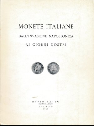 obverse: Ratto Mario - Asta del 29-30 marzo 1963. Monete italiane dall invasione napoleonica ai giorni nostri.
