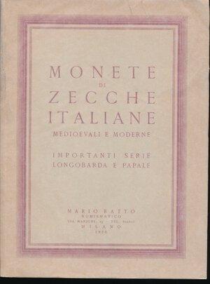 obverse: Ratto Mario, Milano - Asta del 20-21 gennaio 1956. MONETE DI ZECCHE ITALIANE MEDIOEVALI E MODERNE - Importanti serie Longobarda e Papale. Vol. in -8 (19,5 x 26 cm.), brossura editoriale beige con riquadri e titoli in rosso sul piatto anteriore, velina trasparente di protezione, pp. 139, (1), 1210 lotti, 61 tav. in b.n. protette da velina con raffigurate 836 monete. Catalogo di vendita all ASTA PUBBLICA realizzata i giorni 20-21 gennaio 1956 nella sala Giuseppe Verdi, presso il GRAND HOTEL ET DE MILAN a Milano.  Brossura con piccole riparazioni sul piatto anteriore, per il resto in ottime condizioni. Con listino dei prezzi di valutazione e di aggiudicazione!