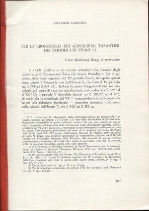 """obverse: GARRAFFO  S. – Per la cronologia dei """" Cavalieri """" tarantini dei periodi I – IV Evans. S.l.d. pp. 101 – 126, tavv. 1. Ril. cart. Buono stato, importante lavoro"""