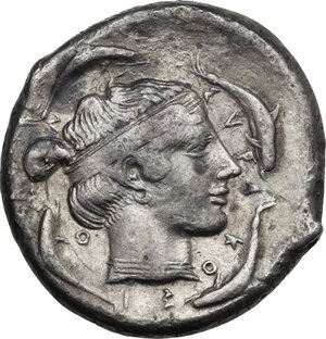 reverse: Syracuse. Second Democracy (466-405 BC). AR Tetradrachm, c. 450 BC