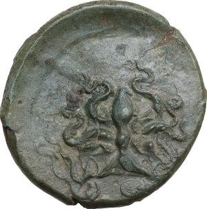 reverse: Syracuse. Dionysios I (405-367 BC). AE Tetras, c. 405 BC