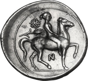 reverse: Syracuse. Timoleon and the Third Democracy (344-317 BC). AR Hemidrachm, c. 343-317 BC
