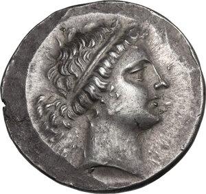 obverse: Aeolis, Kyme. AR Tetradrachm Stephanophoric type. Kallias, magistrate, 155-143 BC