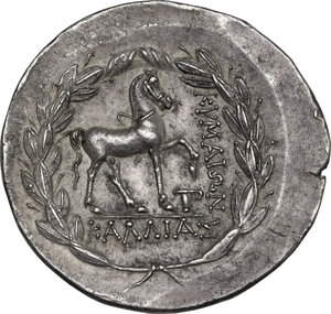 reverse: Aeolis, Kyme. AR Tetradrachm Stephanophoric type. Kallias, magistrate, 155-143 BC