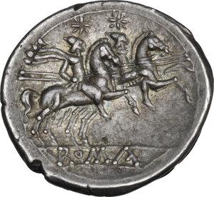 reverse: Anonymous. AR Denarius, c. 210 209 BC