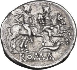 reverse: Cornucopiae (first) series. AR Denarius, c. 207 BC