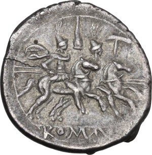 reverse: Apex and hammer series. AR Denarius, 211-208 BC, Central Italy