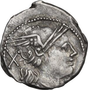 obverse: Caduceus (first) series. AR Denarius, 211-208 BC, Central Italy