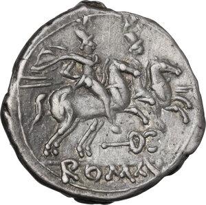 reverse: Caduceus (first) series. AR Denarius, 211-208 BC, Central Italy