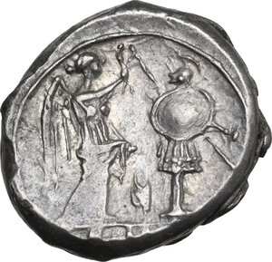 reverse: Corn-ear (third) series. AR Victoriatus, 211-210 BC, Sicily