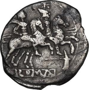 reverse: Dolabella series. AR Quinarius, c. 209-208 BC. Sicily